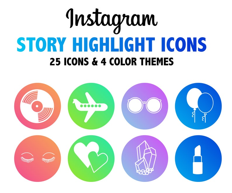 Instagram Story Highlight Icons 25 Icons In 4 Color Themes Instagram Highlight Cover Images For Branding
