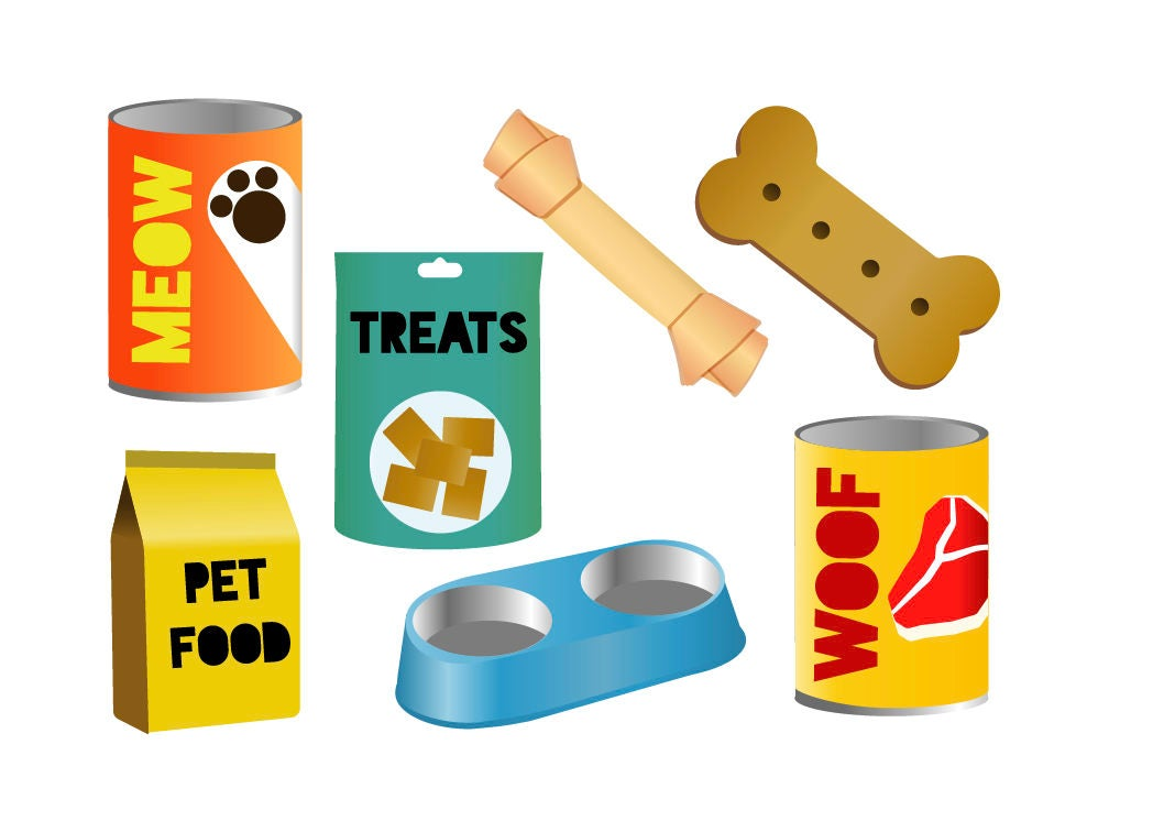 PET FOOD CLIPART cat and dog feed icons   Etsy