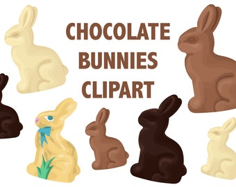 CHOCOLATE BUNNY CLIPART - easter clipart - easter rabbit clipart - easter icons milk chocolate icons - easter bunny clipart Instant Download
