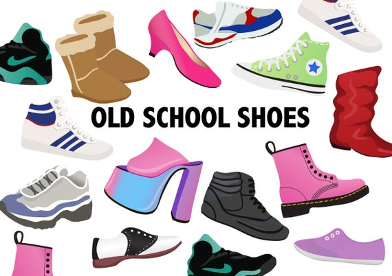 best service 48ef3 84abd OLD SCHOOL Schuhe Clipart - 80er Jahre Retro-Schuh Symbole 90 - druckbare  Mode ClipArt