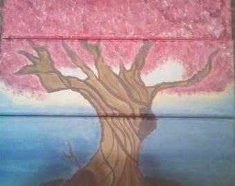 Three Part Tree Painting, Blossom Tree