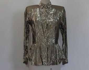 Golden Metallic Peplum Blouse   Vintage 80's