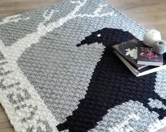 Crochet C2C blanket Pattern | Nevermore Lapghan | PDF instant download