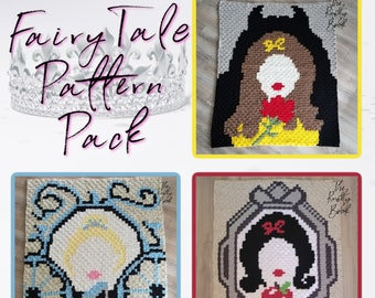 Crochet C2C Blanket Pattern | Princess Lapghan Patterns Pack | PDF instant download