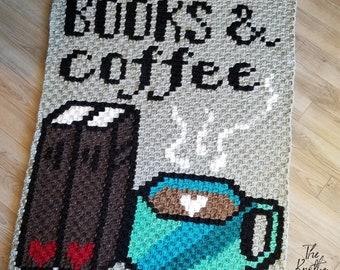 Crochet C2C Blanket Pattern | BOOKS & Coffee Lapghan | PDF instant download