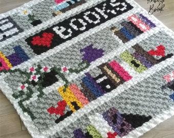 Crochet C2C Blanket Pattern | Bookcase Lapghan | PDF instant download