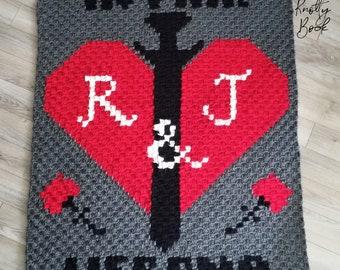Crochet C2C blanket Pattern | Romeo & Juliet Lapghan | PDF instant download