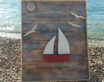 Wooden boat and seagulls