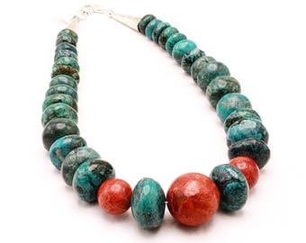 Turquoise Red Coral Graduated Chunky Handmade Necklace 21 Inches