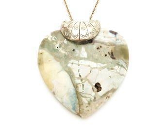 Aqua Terra Jasper Carved Heart Pendant and 18 inch Sterling Silver Chain