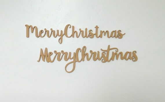 Merry Christmas In Cursive.Cursive Merry Christmas Wood Cutout Sign