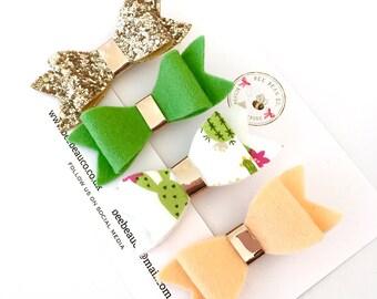 Summer hair bows, 'Cactus Cuties' collection, gold glitter bow, peach hair bow, hair clip set, green hair bow, hair bow set.