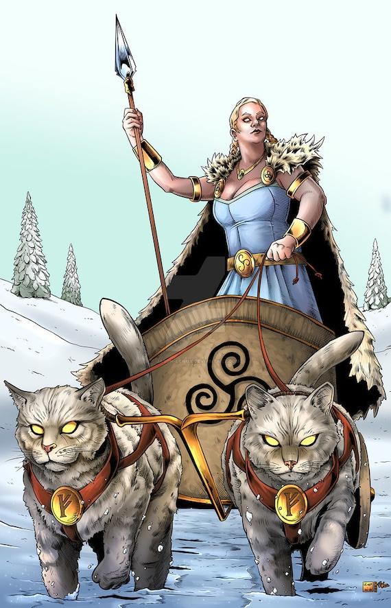 Freya And Cat Chariot Print
