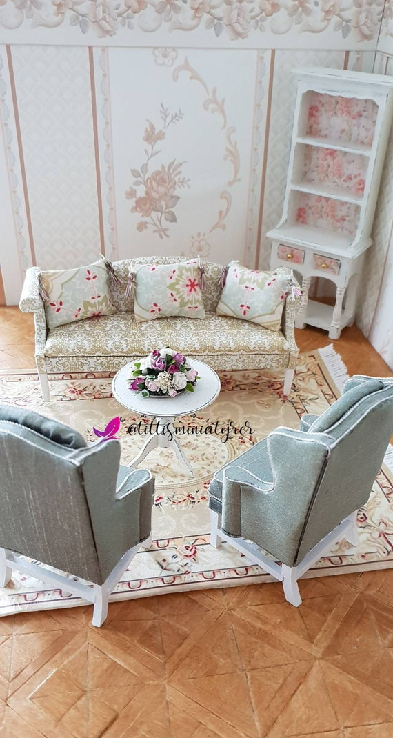 A beautiful sofa in Victorian shabby chic style