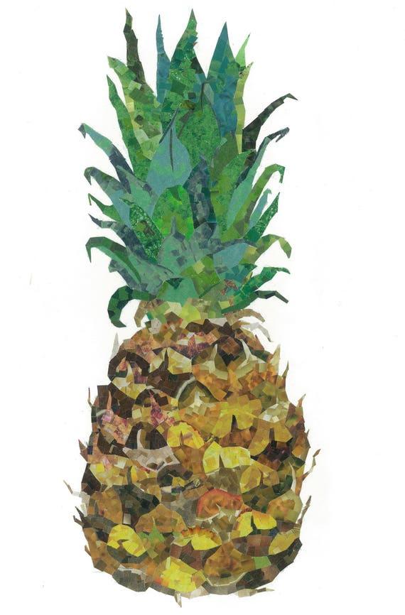 Pineapple Pop Art Collage Pixel Mosaic Collage Fine Art Digital Print Warhol Collage Print Art Print Pop Art Collage Art Wall Art
