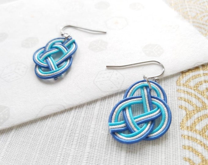 hypoallergenic stainless steel hook or clip on blue tie the knot Awaji dangle Japanese earrings Mizuhiki art hand knotted in Australia