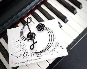 Mizuhiki brooches, treble and bass clef, black, made of Mizuhiki paper cord, Japanese design hand knotted in Australia, music teacher gift