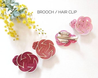 Japanese design brooch and mini hairclip, Mizuhiki, 4 pink colours, tie the knot, first wedding anniversary gift, handmade in Australia