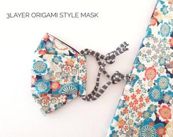 3layer origami style 3D mask, Kimono pattern poly cotton fabric, nose tape slot, 3 sizes, Large, Medium, Small medium, Canberra, Australia
