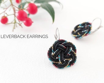 Japanese earrings, blossom knot, black, Mizuhiki paper cord handknotted in Australia, tie the knot, hypoallergenic stainless steel leverback