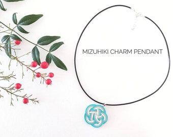 51cm black leather cord Japanese mizuhiki charm pendant, tie the knot, blue sage white, Japanese design pendant, from Canberra Australia