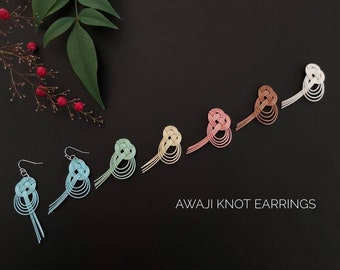 Japanese Mizuhiki Awaji knot earrings, 6 colours, handmade in Australia, tie the knot, hypo allergic stainless steel, clip-on available