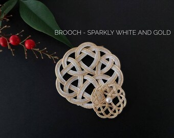 Mizuhiki brooch, tie the knot, sparkly white and gold, Japanese Mizuhiki paper cord hand knotted in Australia, paper anniversary gift