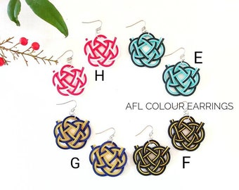 AFL colour earrings, Japanese Mizuhiki Camellia knot, handmade in Australia, tie the knot, hypo allergic stainless steel, clip-on available