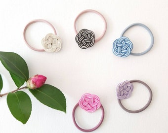 Japanese design hair tie, Mizuhiki paper cords, 5 colours to choose from, tie the knot, kawaii hair tie, hand made Canberra Australia
