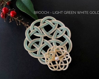 Mizuhiki brooch, tie the knot,pale green and white gold, Japanese Mizuhiki paper cord hand knotted in Australia, paper anniversary gift