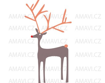 Reindeer for kids, animated, cartoon - svg, dxf file, instant download design for cutting machines (Cricut, Silhouette) Rudolph, red nose