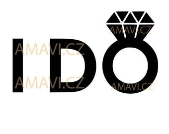 I DO with diamond ring - svg, dxf file, instant download design for cutting machines (Cricut, Silhouette)
