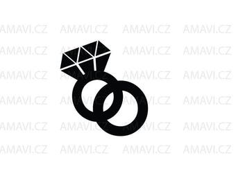 Two rings, ring with diamond - svg, dxf file, instant download design for cutting machines (Cricut, Silhouette)