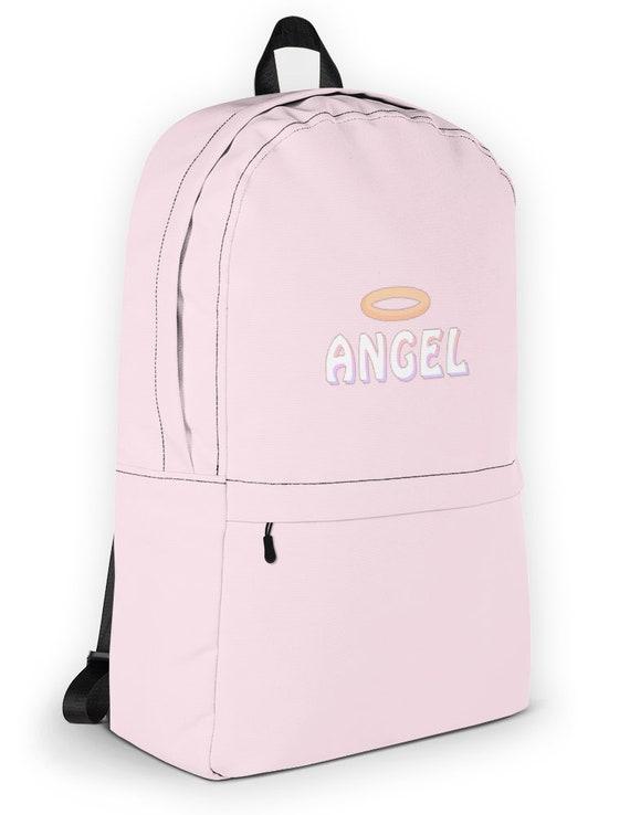 5a01136dd3 Angel Babygirl Cute Women Pink Backpack Kawaii Girly Bag