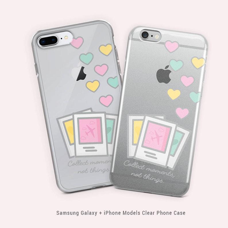 new concept d48b2 6d41e Pastel Polaroid Photos Traveler Cute Heart Clear Iphone Samsung Galaxy  Phone Case by SzaniLee - Kawaii Pink Globetrotter Memories Airplane
