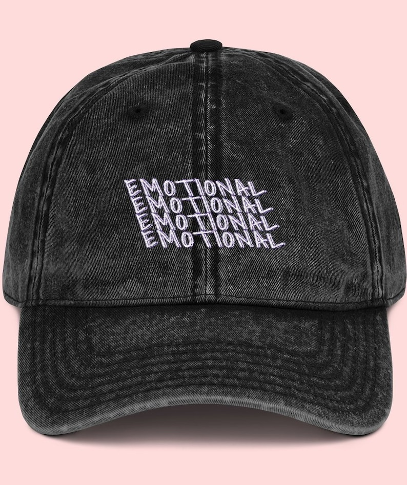 aeaecedb Emotional Kawaii Vintage Embroidered Dad Hat Crybaby Black | Etsy