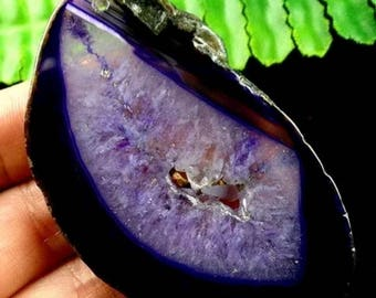 Georgeous purple geode slice pendant on Sterling silver chain