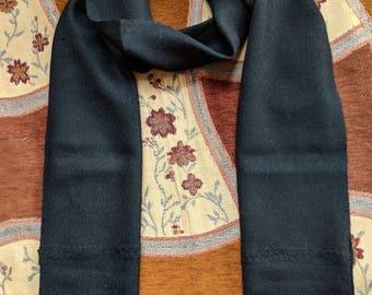 Pure wool black scarf mens scarf, black scarf for men