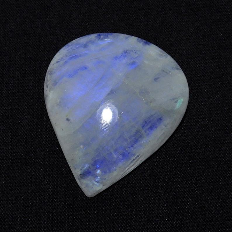 RARE! Blue Flash Rainbow Moonstone 29X35X08MM 59Cts Natural Rainbow Moonstone Gemstone Blue Flash Pear Cabochon Loose Gemstone