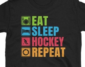 6d0266ed Eat Sleep Hockey Repeat T-Shirt, Funny Hockey Shirts, Hockey Fan Shirt,  Hockey Player Shirt