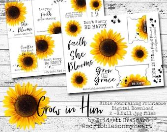 Grow in Him Bible Journaling Printable Digital Download
