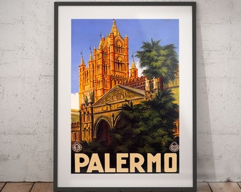 TR6 Vintage Monreale Palermo Italian Italy Travel Poster Re-Print A4