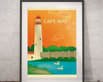 cape may, lighthouse, cape may poster, wall decor, vintage