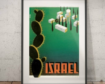 israel, israel travel poster, wall decor, vintage