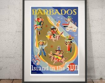 barbados, barbados travel poster, wall decor, vintage