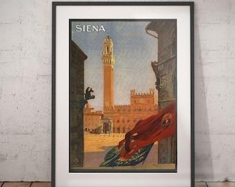 siena, siena travel poster, wall decor, vintage