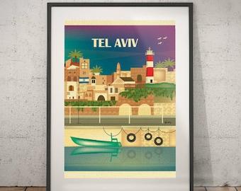 tel aviv, tel aviv travel poster, wall decor, vintage