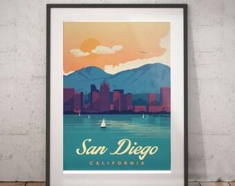 san diego, california, san diego travel poster, wall decor, vintage