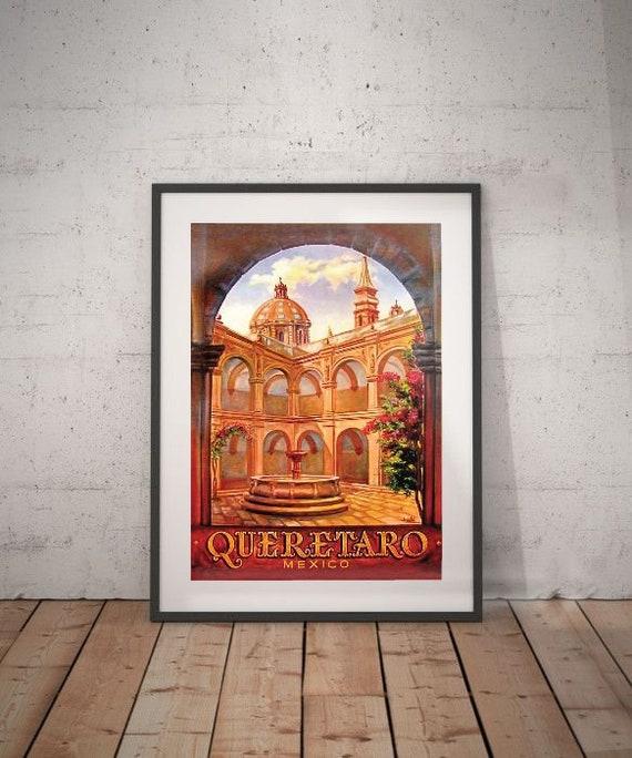 Queretaro Mexico Vintage Travel Home Collectible Wall Decor Art Poster Print