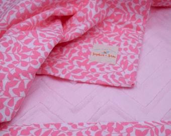 Pink Minky Chevron and Organic Flannel Fabric Bundle
